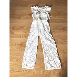 Urban outfitters white jumpsuit eyelet detail sz:M